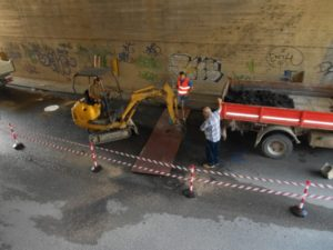 buca sottopasso lavori ponte san giovanni