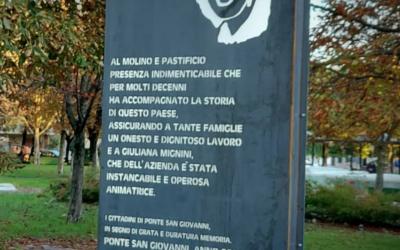Inaugurata la stele a memoria del Pastificio e Giuliana Mignini